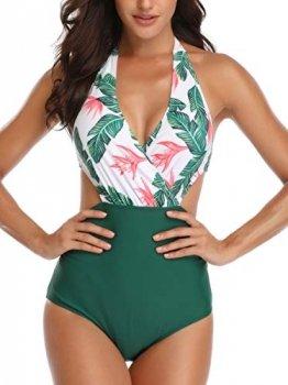 Dolphinfly Damen Einteilige Badeanzüge Hoch Tailliert Halfter Badebekleidung Monokini Sets V-Ausschnitt Cutouts Bikini Surplice-Ausschnitt(Grün M) - 1