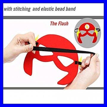 DREAMWIN Superhelden Masken, 38 Stücke Filz Masken Superhero Cosplay Party Masken Halbmasken mit Elastischen Seil für Erwachsene und Kinder Party Maskerade Multicolor - 3