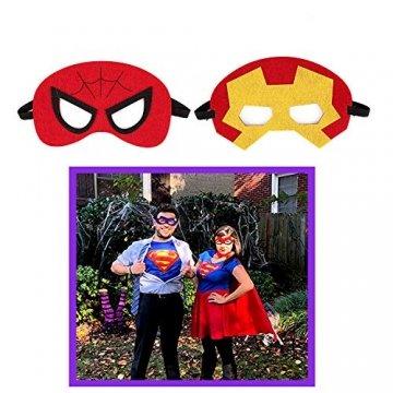 DREAMWIN Superhelden Masken, 38 Stücke Filz Masken Superhero Cosplay Party Masken Halbmasken mit Elastischen Seil für Erwachsene und Kinder Party Maskerade Multicolor - 4
