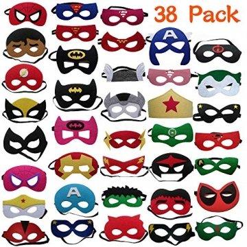 DREAMWIN Superhelden Masken, 38 Stücke Filz Masken Superhero Cosplay Party Masken Halbmasken mit Elastischen Seil für Erwachsene und Kinder Party Maskerade Multicolor - 1