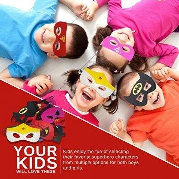 DREAMWIN Superhelden Masken, 38 Stücke Filz Masken Superhero Cosplay Party Masken Halbmasken mit Elastischen Seil für Erwachsene und Kinder Party Maskerade Multicolor - 5