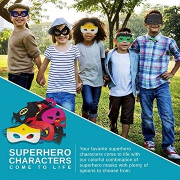 DREAMWIN Superhelden Masken, 38 Stücke Filz Masken Superhero Cosplay Party Masken Halbmasken mit Elastischen Seil für Erwachsene und Kinder Party Maskerade Multicolor - 6