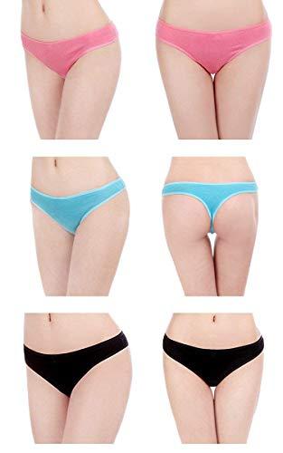DRESHOW 6 Stück Damen Tangas Unterhosen Baumwolle Atmungsaktiver Slip Bikini Unterwäsche, 6 Pack, L - 4