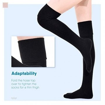 DRESHOW Damen Overknee Knee High Socks Kniestrümpfe Mädchen Warme Beinlinge Stricken Sport Socken Leggings Strümpfe Baumwollstrümpfe - 5