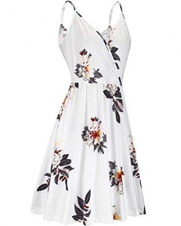 DRESHOW Damen V-Ausschnitt Mini Kleid Sommerkleid Blumendruck Ärmellos Spaghettibügel Swing Kleid Sommer Beiläufige Strandkleid Cocktail Skater Kleider mit Tasche - 2