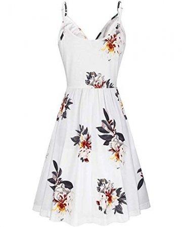 DRESHOW Damen V-Ausschnitt Mini Kleid Sommerkleid Blumendruck Ärmellos Spaghettibügel Swing Kleid Sommer Beiläufige Strandkleid Cocktail Skater Kleider mit Tasche - 3