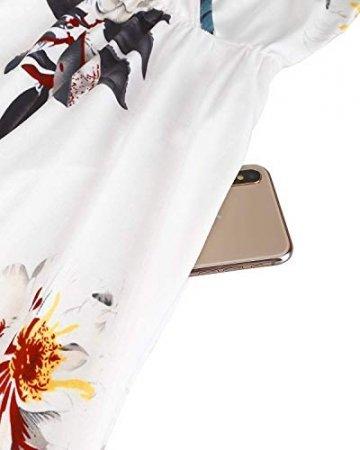 DRESHOW Damen V-Ausschnitt Mini Kleid Sommerkleid Blumendruck Ärmellos Spaghettibügel Swing Kleid Sommer Beiläufige Strandkleid Cocktail Skater Kleider mit Tasche - 4