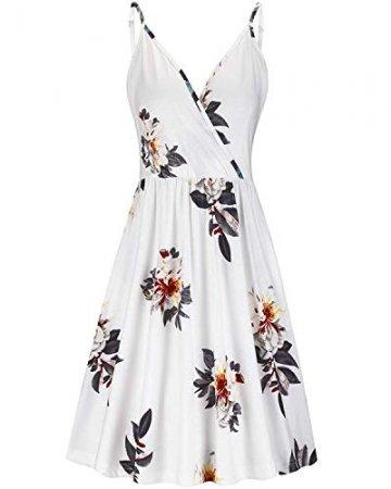 DRESHOW Damen V-Ausschnitt Mini Kleid Sommerkleid Blumendruck Ärmellos Spaghettibügel Swing Kleid Sommer Beiläufige Strandkleid Cocktail Skater Kleider mit Tasche - 1