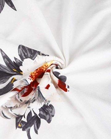 DRESHOW Damen V-Ausschnitt Mini Kleid Sommerkleid Blumendruck Ärmellos Spaghettibügel Swing Kleid Sommer Beiläufige Strandkleid Cocktail Skater Kleider mit Tasche - 5