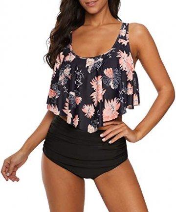 Durio Bikini High Waist Damen Zweiteiliger Bikini Set Hohe Taille Bikinihose mit Langem Volant Chrysantheme-Schwarz EU 36-38 (Herstellergröße M) - 4