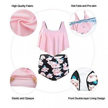 Durio Bikini High Waist Damen Zweiteiliger Bikini Set Hohe Taille Bikinihose mit Langem Volant Chrysantheme-Schwarz EU 36-38 (Herstellergröße M) - 5