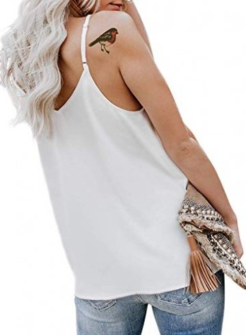 Durio Top Damen Sexy Tank Top Damen Sommertop Spaghetti Top Ärmellose Bluse V-Ausschnitt Shirt Weiß EU 38 (Herstellergröße S) - 3