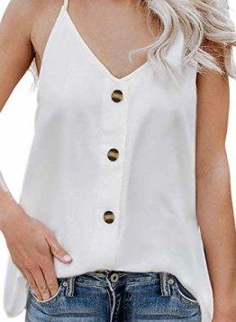 Durio Top Damen Sexy Tank Top Damen Sommertop Spaghetti Top Ärmellose Bluse V-Ausschnitt Shirt Weiß EU 38 (Herstellergröße S) - 1