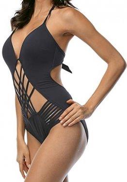DUSISHIDAN BadeMode Retro Bandagen BadeanzugDamen, sexy Monokini Tief V Ausschnitt Rückenfrei Einteiliger, Schwarze, EU 38-40  Tag M - 1