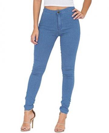 EASTDAMO Frauen-Ausdehnung-hohe Taille dünne Jeggings dünne Jeans, Light Blue, Gr. M - 1
