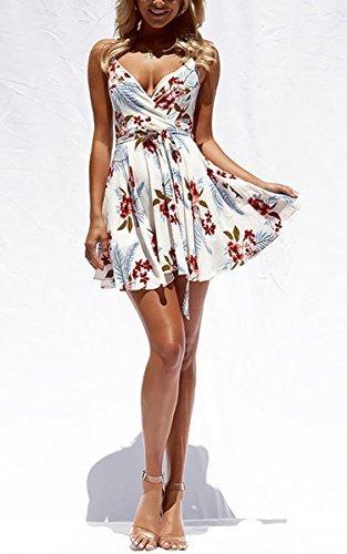 ECOWISH Damen Kleid Sommerkleid V-Ausschnitt Ärmellos Blumendruck Spaghetti Strap Mini Swing Strandkleid Mit Gürtel Weiß L - 2