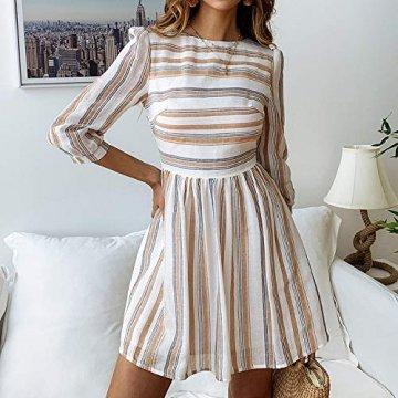 ECOWISH Damen Kleider A-Linie Gestreift Sommerkleid 3/4 Ärmel Rundhals Plissee Kleid Casual Mini Strandkleid Gelb Blau S - 2