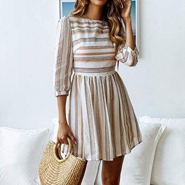 ECOWISH Damen Kleider A-Linie Gestreift Sommerkleid 3/4 Ärmel Rundhals Plissee Kleid Casual Mini Strandkleid Gelb Blau S - 3