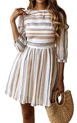 ECOWISH Damen Kleider A-Linie Gestreift Sommerkleid 3/4 Ärmel Rundhals Plissee Kleid Casual Mini Strandkleid Gelb Blau S - 1