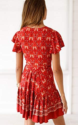 ECOWISH Damen Kleider Boho Vintage Sommerkleid V-Ausschnitt A-Linie Minikleid Swing Strandkleid mit Gürtel 045 Rot S - 3