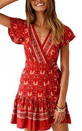 ECOWISH Damen Kleider Boho Vintage Sommerkleid V-Ausschnitt A-Linie Minikleid Swing Strandkleid mit Gürtel 045 Rot S - 1
