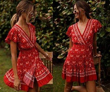 ECOWISH Damen Kleider Boho Vintage Sommerkleid V-Ausschnitt A-Linie Minikleid Swing Strandkleid mit Gürtel 045 Rot S - 4