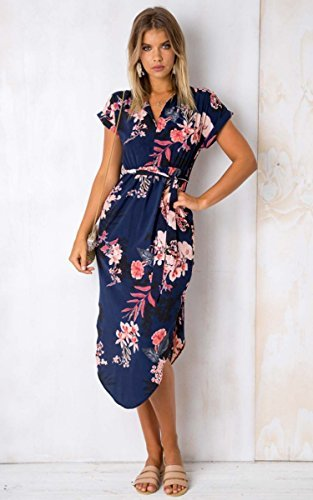 ECOWISH Sommerkleider Damen Kurzarm V-Ausschnitt Strand Blumen Kleider Abendkleid Knielang Blau M - 2