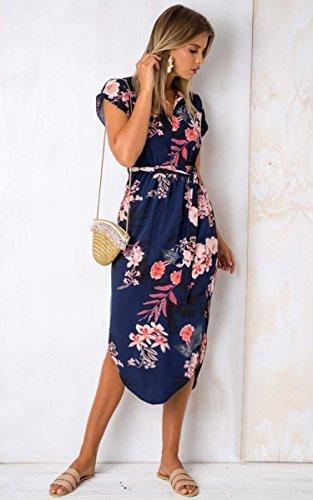 ECOWISH Sommerkleider Damen Kurzarm V-Ausschnitt Strand Blumen Kleider Abendkleid Knielang Blau M - 4