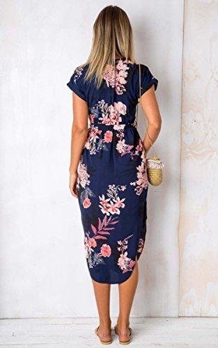 ECOWISH Sommerkleider Damen Kurzarm V-Ausschnitt Strand Blumen Kleider Abendkleid Knielang Blau M - 6