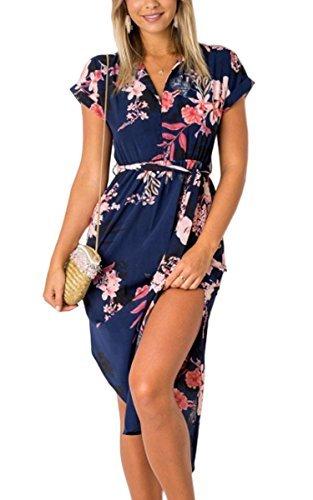 ECOWISH Sommerkleider Damen Kurzarm V-Ausschnitt Strand Blumen Kleider Abendkleid Knielang Blau M - 1