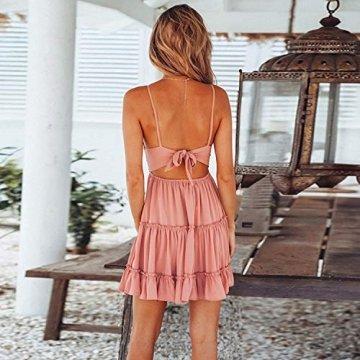 ECOWISH V Ausschnitt Kleid Damen Spitzenkleid Träger Rückenfreies Kleider Sommerkleider Strandkleider Rosa-1 XL - 4