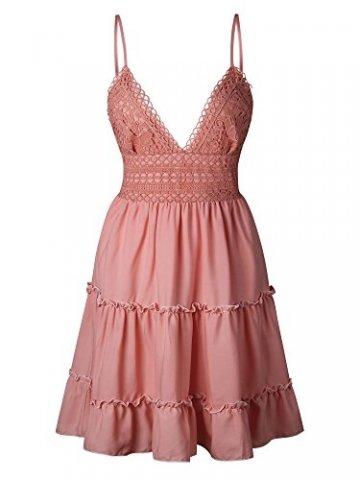 ECOWISH V Ausschnitt Kleid Damen Spitzenkleid Träger Rückenfreies Kleider Sommerkleider Strandkleider Rosa-1 XL - 5