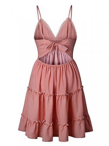 ECOWISH V Ausschnitt Kleid Damen Spitzenkleid Träger Rückenfreies Kleider Sommerkleider Strandkleider Rosa-1 XL - 6