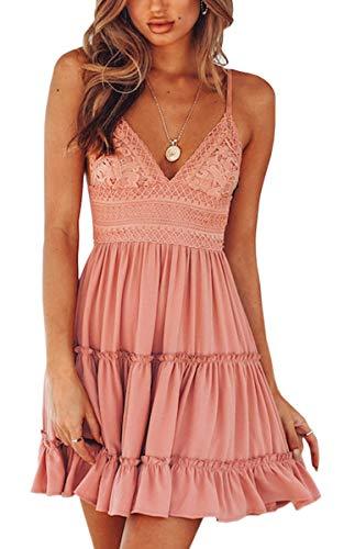 ECOWISH V Ausschnitt Kleid Damen Spitzenkleid Träger Rückenfreies Kleider Sommerkleider Strandkleider Rosa-1 XL - 1