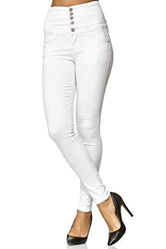 Elara Damen Stretch Hose | High Waist Jeans| Skinny | hoher Bund | Slim Fit | Chunkyrayan Y5109 White 40 - 2