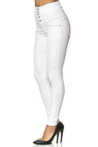 Elara Damen Stretch Hose | High Waist Jeans| Skinny | hoher Bund | Slim Fit | Chunkyrayan Y5109 White 40 - 3