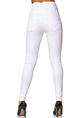 Elara Damen Stretch Hose | High Waist Jeans| Skinny | hoher Bund | Slim Fit | Chunkyrayan Y5109 White 40 - 4
