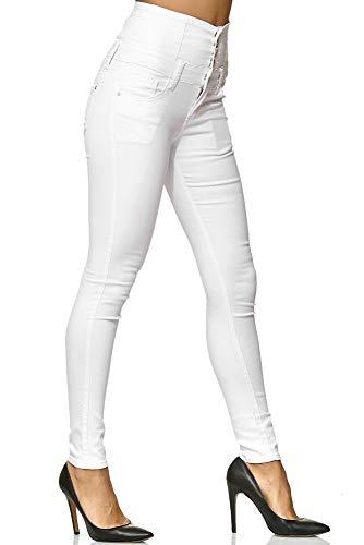 Elara Damen Stretch Hose | High Waist Jeans| Skinny | hoher Bund | Slim Fit | Chunkyrayan Y5109 White 40 - 5