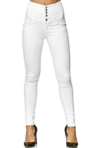 Elara Damen Stretch Hose | High Waist Jeans| Skinny | hoher Bund | Slim Fit | Chunkyrayan Y5109 White 40 - 1
