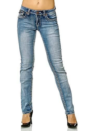 Elara Slim Fit Damen Jeans   Skinny   Jeanshose   Fashion Denim   mit besonderem Design der Nähte   modischer Look und körperbetonter Schnitt   Chunkyrayan   90-5A Lt.Blue 44 - 1