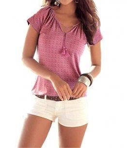 ELFIN Damen T-Shirt Kurzarmshirt Allover Druck Bluse Lässig Sommer Tee Neckholder Ladies Top - 1