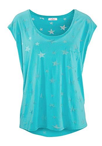 ELFIN Damen T-Shirt Kurzarmshirt Basic Tops Ärmelloses Tee Allover-Sternen Druck Shirt Sommer Shirt - 2