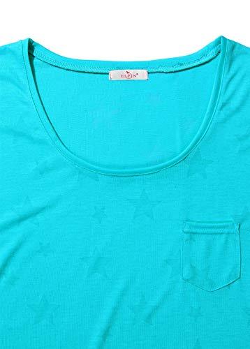 ELFIN Damen T-Shirt Kurzarmshirt Basic Tops Ärmelloses Tee Allover-Sternen Druck Shirt Sommer Shirt - 3