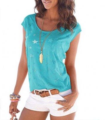 ELFIN Damen T-Shirt Kurzarmshirt Basic Tops Ärmelloses Tee Allover-Sternen Druck Shirt Sommer Shirt - 1