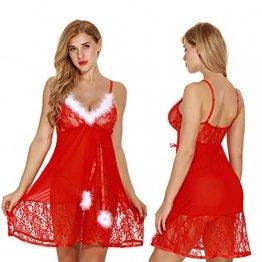 Elviray Womens Weihnachten Dessous Red Santa Babydolls Chemises Set Lace Nachtwäsche Santa Kleid Lace Chemise Mit G-String - 1