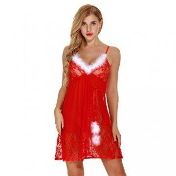Elviray Womens Weihnachten Dessous Red Santa Babydolls Chemises Set Lace Nachtwäsche Santa Kleid Lace Chemise Mit G-String - 7