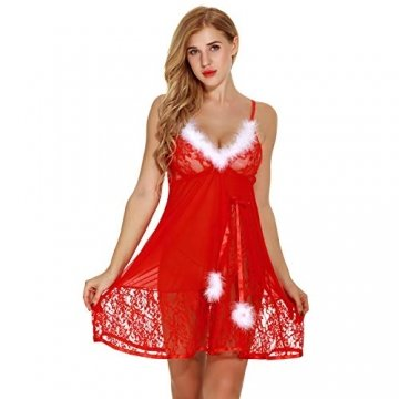Elviray Womens Weihnachten Dessous Red Santa Babydolls Chemises Set Lace Nachtwäsche Santa Kleid Lace Chemise Mit G-String - 8
