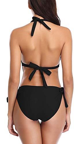 Eomenie Damen Badeanzug Einteilige Cut Out Bademode Neckholder Rückenfrei Monokini - 6