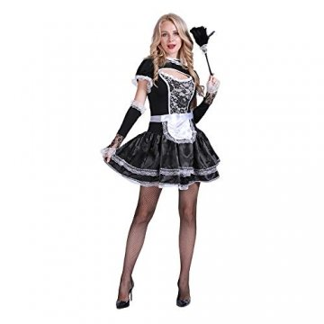 EraSpooky Damen Sexy Zimmermädchen Kostüm Zofe French Maid Dienstmädchen Karneval Kleid - 3