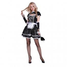 EraSpooky Damen Sexy Zimmermädchen Kostüm Zofe French Maid Dienstmädchen Karneval Kleid - 1